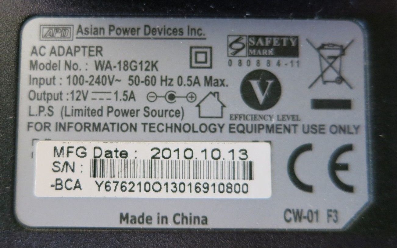 Asian Power Devices WA-18G12K UK Plug AC Power Adapter Charger 18W 12V 1 5A